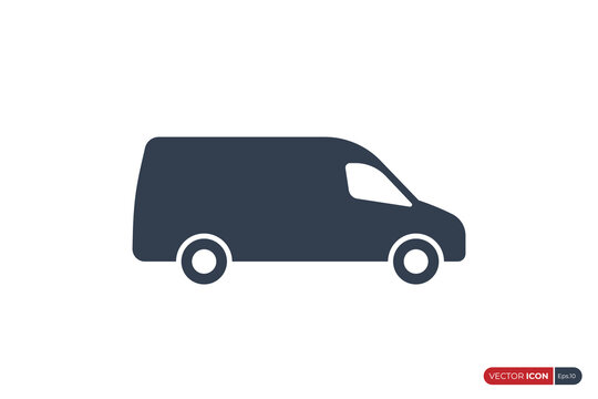 Simple Fast Shipping Delivery Truck Icon isolated on White Background. Usable for Apps, Websites and Business Resources. Flat Vector Icon Design Template Element.