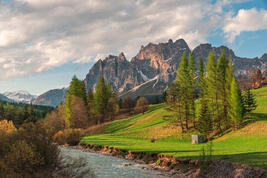 Beautiful landscape of Italian dolomites. Cortina dAmpezzo town in the Belluno province, Veneto region, Italy