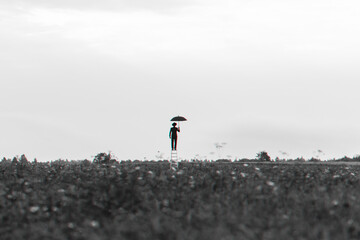 surreal silhouette of a man in a suit with an umbrella standing on the stairs in a field