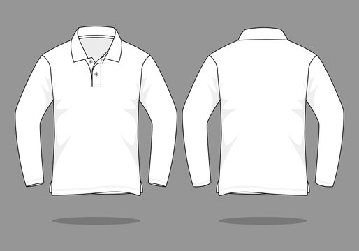Blank White Long Sleeve Polo Shirt Vector For Template.Front And Back View.