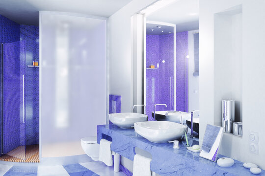 Bathroom Design with Blue Accents - 3D Visualization