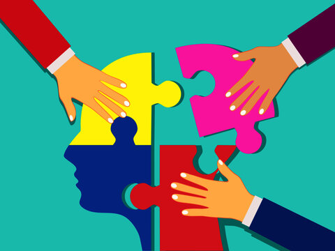 Many human hands against human head jigsaw puzzle. vector