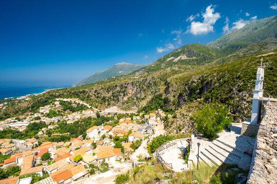 view on mountain and village Dhermi in Albania