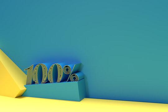 3D Render Abstract 100% Sale OFF Discount Banner 3D Illustration Design.
