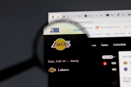New York, USA - 15 February 2021: Los Angeles Lakers website in browser with company logo, Illustrative Editorial.