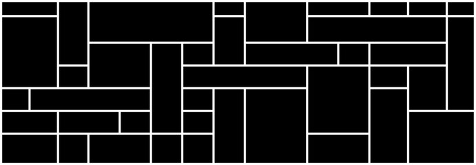 Abstract of pattern. Design mondrian style white on black background. Design print for illustration, texture, textile, wallpaper, background.
