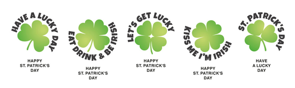 St Patrick's Day stickers label icons design three four leaf clovers on isolated white background banner