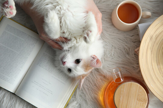 Woman with cute fluffy cat, tea and book on faux fur, top view