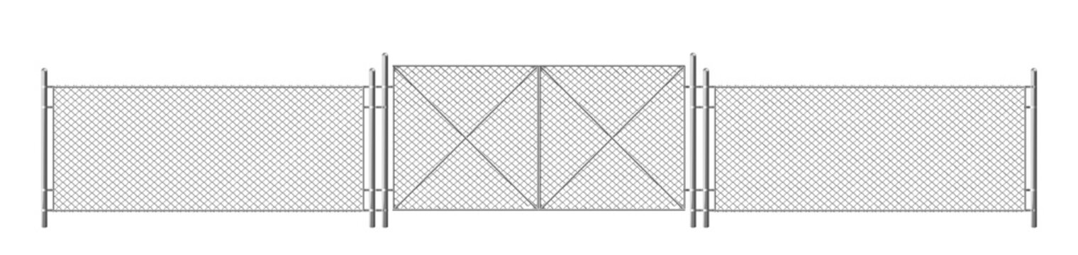 Wire fence, grid with gate. Three segments fencing