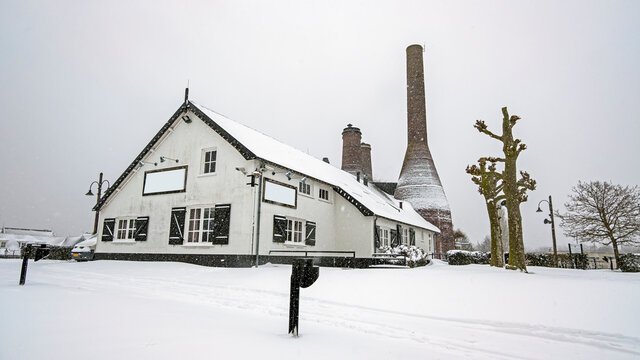 Traditional limekilns factory in Huizen the Netherlands in winter