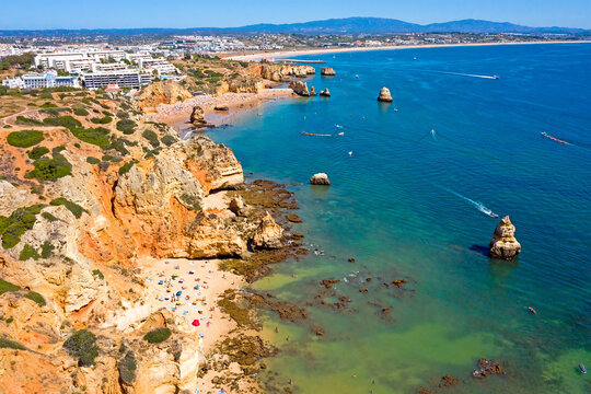 Aerial from Praia D'Ana in Lagos in the Algarve Portugal