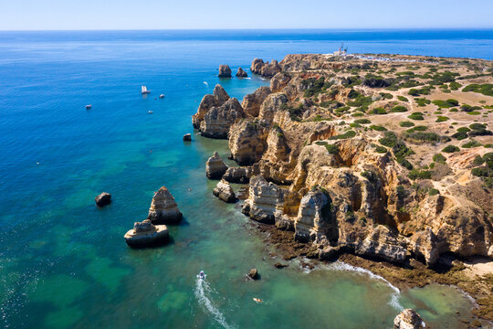 Aerial from Ponte Piedade near Lagos in Portugal