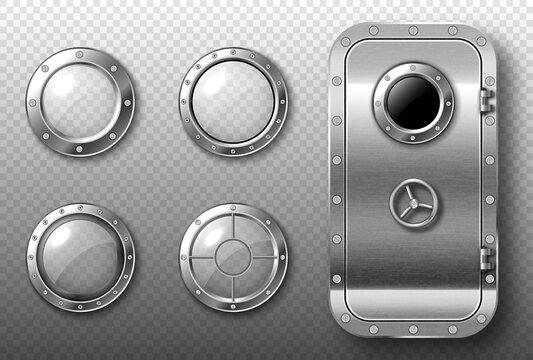 Portholes and metal door in spaceship or submarine