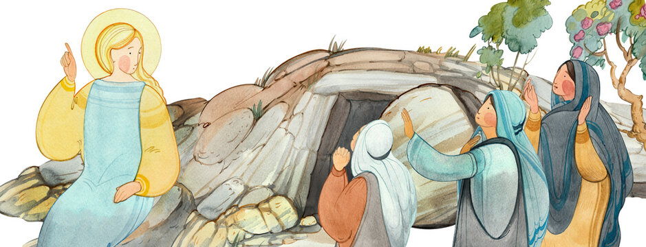 Resurrection of Jesus Christ, Easter,Holy Sepulcher, the angel speaks with the myrrh-bearing women about the resurrection. For Christian church publications, Easter cards, prints, easter banner, bord.