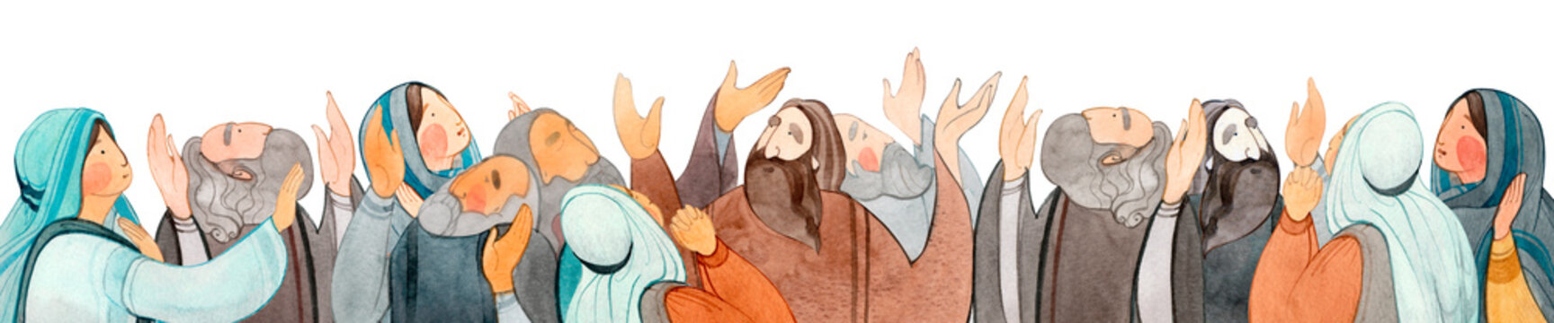 Watercolor hand drawn illustration of praying people, apostles in prayer, thanksgiving to the Lord. Decorative border for the background of Christian publications, the design of banners, cards, sites