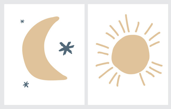 Cute Nursery Vector Illustrations with Hand Drawn Stars, Moon and Sun. Big Gold Sun Isoalted od a White Background. Starry Night Sky. Funny Scandinavian Style Prints ideal for Kids Room Decor.