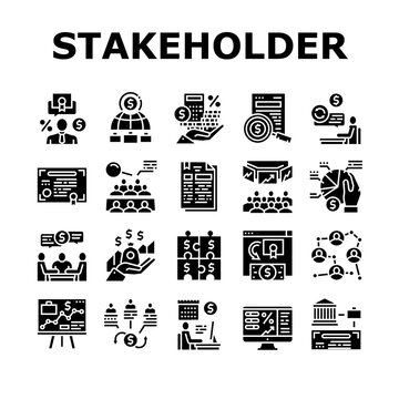 Stakeholder Business Collection Icons Set Vector. Stakeholder Meeting With Investor And Trade Union, Credit And Dividends, Stock And Bidding Glyph Pictograms Black Illustrations