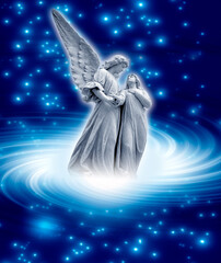 Wall Mural - guardian angel with a woman in Light whirl aming stars like spiritual, religious and belief concept