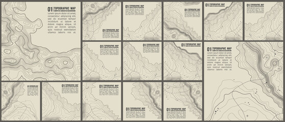 Fototapeta Topographic pattern texture vector Set. Grey contours vector topography. Geographic mountain topography vector illustration. Map on land vector terrain. Elevation graphic contour height lines. obraz