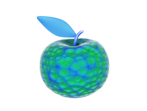 Unusual apple isolated on white background, 3d render