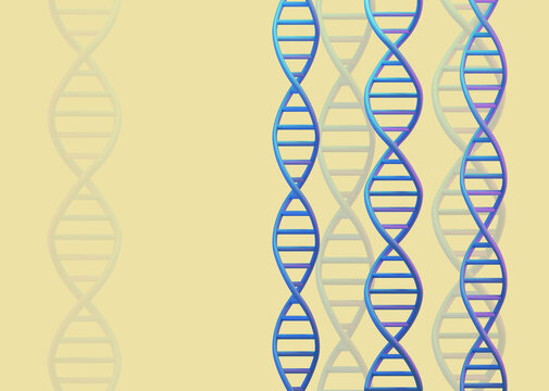 DNA molecules structures on yellow background. Science and Technology, 3d render