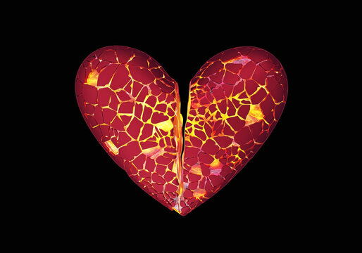 Hot broken cracked heart of classic shape on dark background, stop loving concept, 3d render