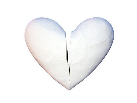 Paper broken heart shape classic, stop loving concept, 3d render