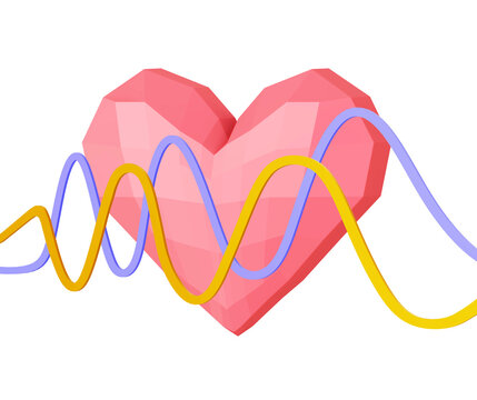 matte soft low poly heart with curved lines isolated on white. 3d illustration