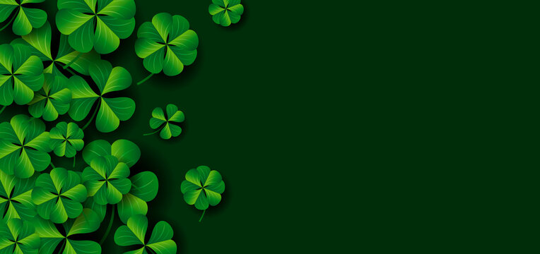 Patrick's day banner design of clover leaves on green background vector illustration