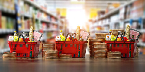 Growth of food sales or growth of market basket or consumer price index concept. Shopping basket with foods with coin stacks in grocery shop.