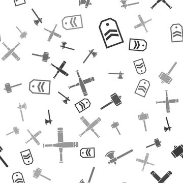 Set Chevron, Medieval axe, Battle hammer and Crossed baseball bat on seamless pattern. Vector.