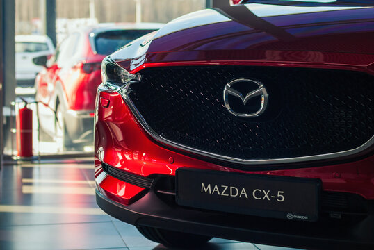 Mazda CX 5 crossover in auto dealer showroom, front view, Moscow, 18 Feb 2021