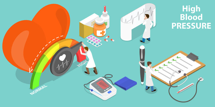 3D Isometric Flat Vector Conceptual Illustration of High Blood Pressure, Medical Checkup.