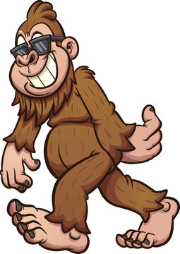 Bigfoot walking and wearing sunglasses. Vector clip art illustration. All on a single layer.