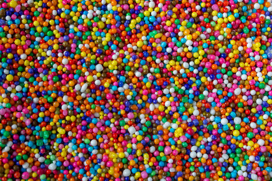 View of rainbow sprinkles also know as sugar balls.