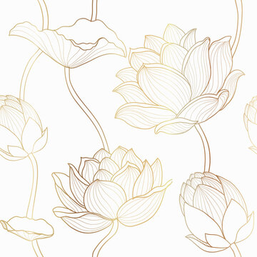 Luxury lotus seamless wallpaper design vector, Gold lotus line flowers seamless pattern for packaging background, print