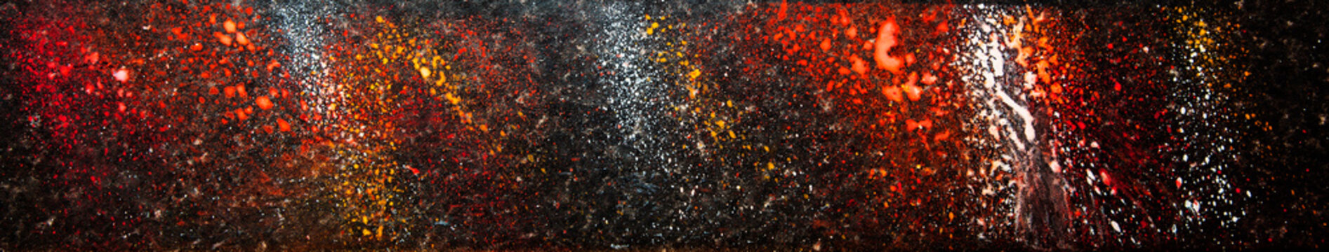 Amazing, beautiful abstract color burst in paint; as a long, panoramic, background texture - inspiring concept for design - in long, thin header / banner.