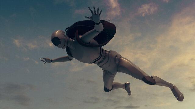 3d rendered illustration of Robot Skydiving or falling in sky. High quality 3d illustration