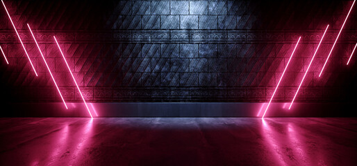Neon Sci Fi Tron Cyber Garage Tunnel Glowing Purple Blue Laser Electric Fluorescent Lines On Stone Medieval Textured Cement Wall Concrete Glossy Grunge Dark 3D Rendering