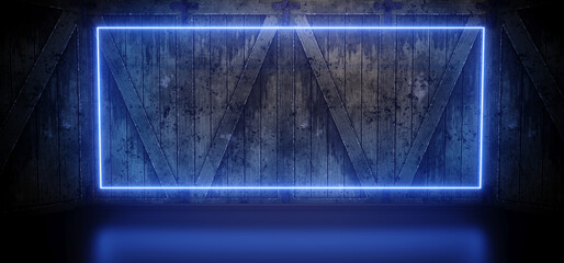 Neon Sci Fi Tron Cyber Futuristic Fluorescent Blue Glowing Rectangle Frame Studio Garage Hangar Barn Wood Plank Wall Realistic Glossy Dark 3D Rendering