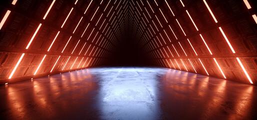 Triangle Alien Spaceship Tron Cyber Orange Red Blue Glowing Tunnel Corridor Sci Fi Futuristic Dark Studio Hangar Warehouse Concrete Glossy Underground Hallway Background 3D Rendering