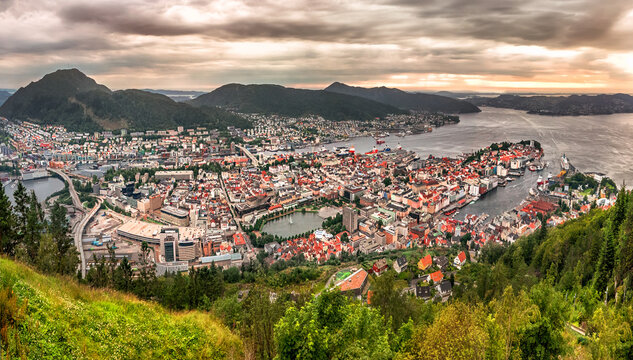 View on Bergen and harbor from the mountain Floyen top. Norway.