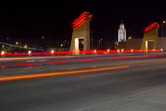 Long exposure of a bridge downtown Lincoln, Nebraska