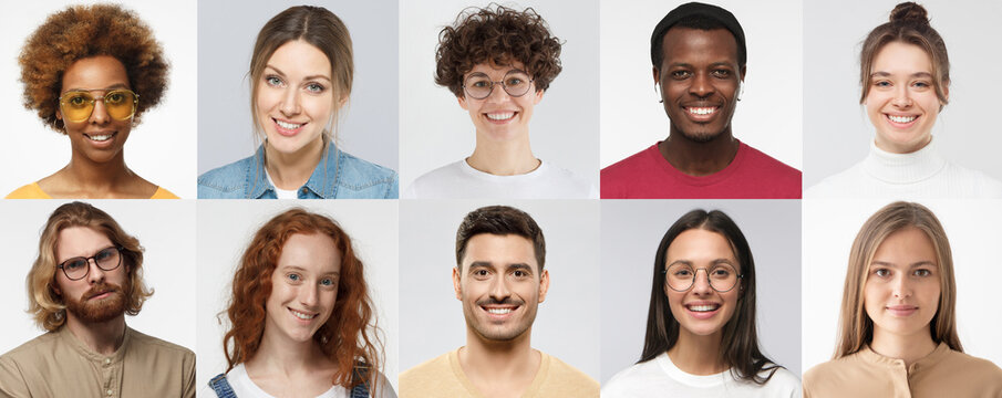 Collage of portraits and faces of multiracial millennial group of various smiling young people, good use for userpic and profile picture. Diversity concept