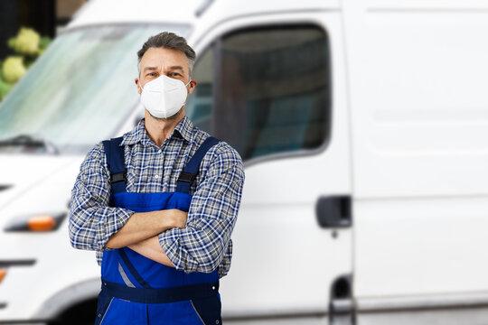 Electricians Repairman Or Plumber Near Van Car