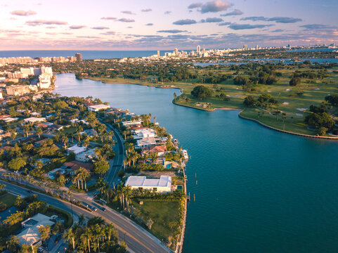 Miami Beach - Aerial of Houses at Bay Harbor Islands and Indian Creek Country Club. Late afternoon shot.