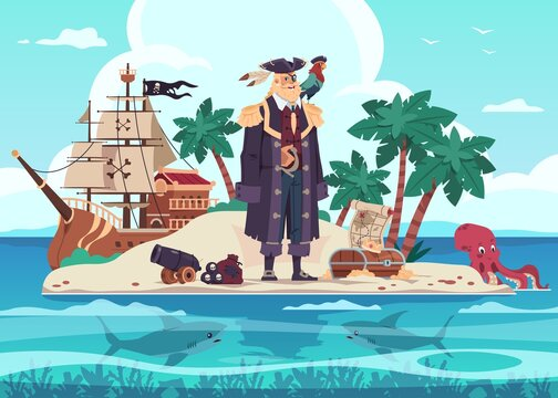 Pirate island. Cartoon kid's adventure illustration with captain of marine brigands and treasure chest. Predatory sharks and octopus swim in tropical ocean. Vector robber's wooden ship with black flag
