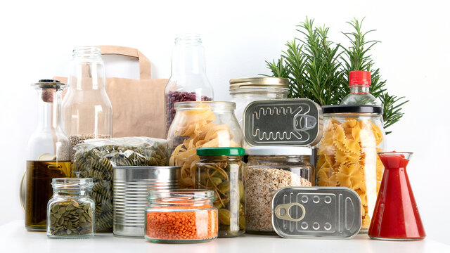 Food pantry for staying home. Grains and oats in jars