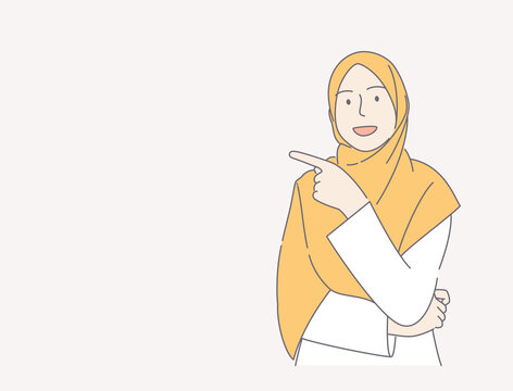 young woman wearing scarf over isolated pink background pointing finger hand drawn illustration concept. can use for, landing page, template, ui, web, homepage, poster, banner, flyer