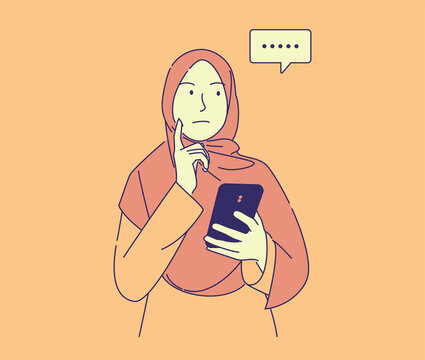 hand drawn illustration of pretty muslim woman holding phone thinking how to answer chat . cute young girl wear hijab with, can use for, landing page, template, ui, web, homepage, poster, banner,